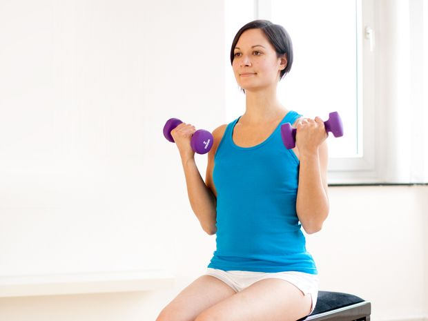 Biceps Curls, Seated, with Dumbbells