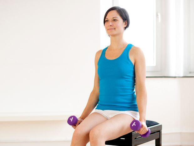 Hammer Curls, Seated, with Dumbbells