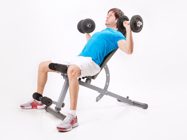 Bench press, on incline bench with rotation