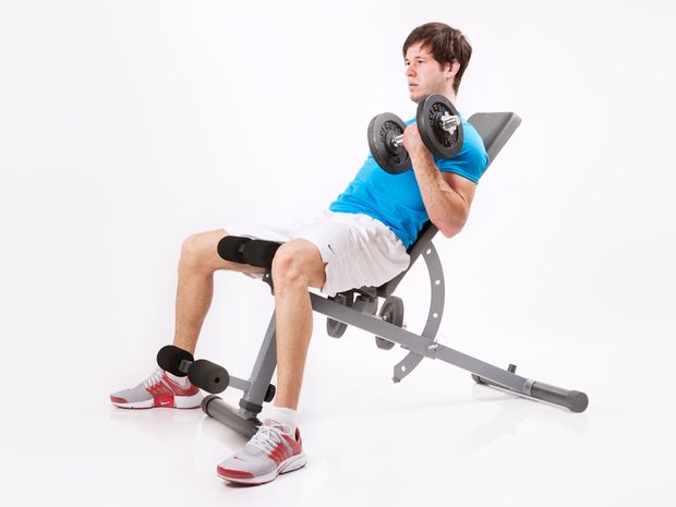 Biceps Curls on Incline Bench