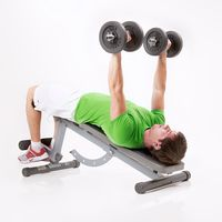 Negative Bench Press with Dumbbells