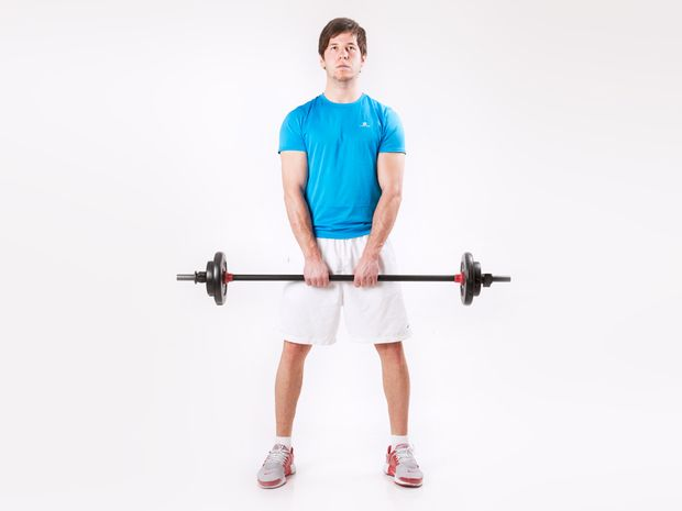 Rowing, Standing with Barbell held in a Narrow Grip